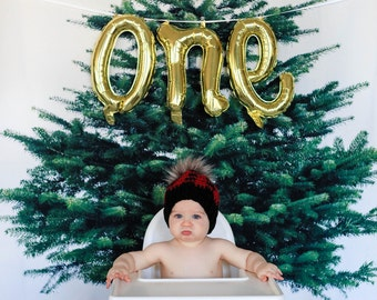 Balloon Banner - One Balloon - First Birthday Balloons - First Birthday Banner - 1st birthday - Lumberjack Party - High Chair Banner - One