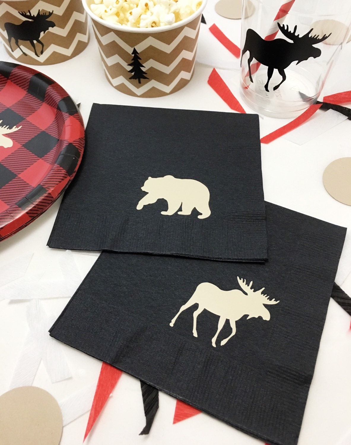 Lumberjack Napkins Lumberjack Baby Shower First Birthday - Buffalo birthday cake
