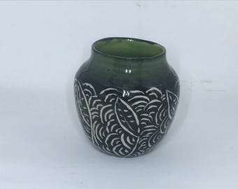 Small Sgraffito Bud Vase With Interior and Top Third in Tropical Green - Pottery Vase - Handmade Vase
