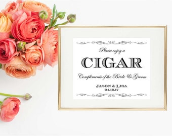"Cigar Bar Wedding Printable Sign, White & Black Wedding Print, 8""x10"" Personalized, Wedding Printable, Cigar Print. Party Sign"