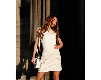 White Dress / Womens Dresses / Bodycon Dress /  Dress With Eyelets / Short Dress / Dress With Zipper On The Back /  Handmade Dress