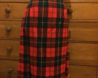 Vintage retro Pendleton skirt wool red tartan plaid fully lined