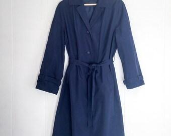 Trench Coat - Vintage Jacket - Long Jacket - Navy Coat - Trench Coat Women -Made In Germany -Rain Coat -Vintage Coat- Winter Coat- Spy Party