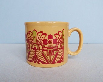 English Vintage Staffordshire Mug with Mod Retro Architectural Pattern Ironstone Made in England