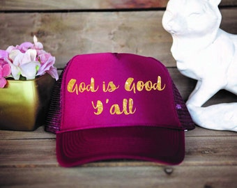 God Is Good Trucker Hat (Burgundy)