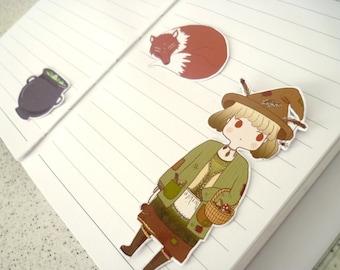 Forest girl mori kei witch sticker ∙ Cute planner stickers ∙ Japanese fashion sticker set