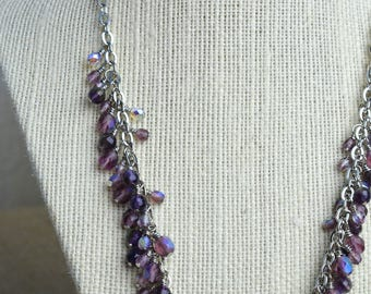 Amethyst Dangle Necklace, Amethyst Necklace, Dangle Necklace, Beaded Necklace, Gemstone Necklace, Purple Necklace, Women's Necklace