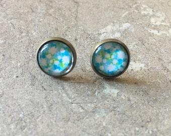 Earrings cabochon flowers, acrylic flower cabochon earrings