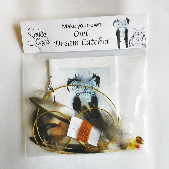 Diy kit owl dream catcher activity make your own by selkiecrafts Create your own dream house