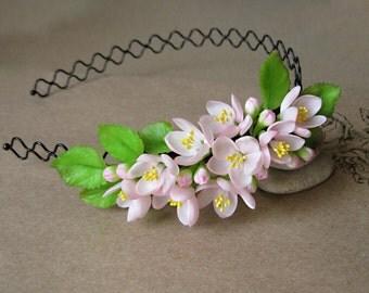 Spring wedding crown Blush bridal headband Flower headband wedding hair crown Spring headband Floral headband Rustic headband Rustic crown