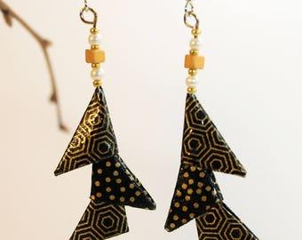 """Triangles ebony ethnic"" origami earrings"