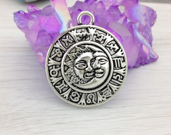 Sun and Moon Pendant, Antique Silver, 1 pc, Zodiac Pendant, Star Sign Charm, Moon Charm, CH181