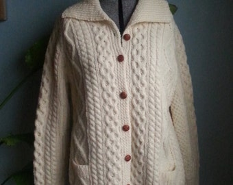 vintage cable knit cardigan sweater