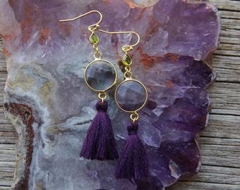 Gold Amethyst Earrings / Purple Tassel Earrings