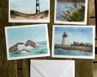 Coastal Watercolor Notecards - Set of 4