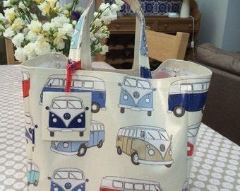 Camper Van Oilcloth bag -  Shopping Bag - Camper Van Bag -  Beach Bag - Shoulder Bag - VW Bag - Summer Bag - Tote Bag - Gifts for Her - Bag