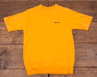 "Mens Vintage Retro Adidas Jersey T Shirt Yellow S 36"" R3857"