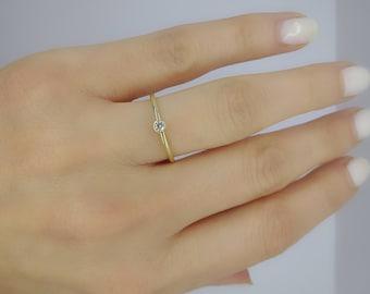 Thin Diamond Ring ~ Dainty thin ring ~ Micro Diamond Ring ~ Simple Diamond Ring ~ Mini Diamond Ring ~ Small diamond ring ~ Minimalist ring