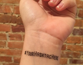 bachelorette party temporary tattoos // custom hashtag