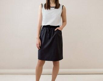 Black skirt,short black skirt,classic black skirt,black summer skirt,side slit skirt,casual skirt,knee lenght skirt,black mini skirt
