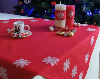 Christmas table topper red and white Xmas table Cloth cross stitch snowflakes Christmas home decor handmade square Christmas tablecloth gift