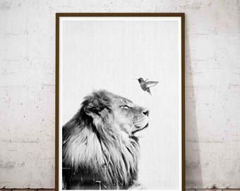 Lion Print, Nursery Safari Print, Nursery Safari Art, Minimalist Art Large, Large Abstract Decor, Safari Nursery Animal Print, Minimalist