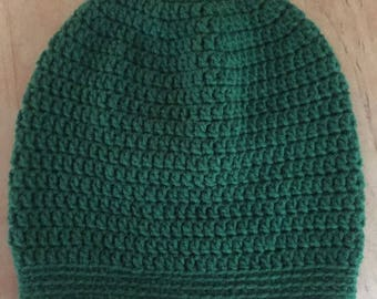 Green slouchy hat, crochet hat,  slouchy hat men, slouchy hat women, handmade hat, winter hat, green beanie, crochet beanie
