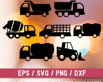 Construction svg file, Trucks svg file, Construction truck svg,Construction Vehicle svg, Cut file, Truck Silhouette, Vehicle Clipart,Digital