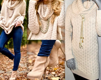 Cozy Warm Cable Diamond Knit Winter Cream BEIGE Long Sleeve Pullover Cowl Turtleneck Tunic/Sweater Dress M/L