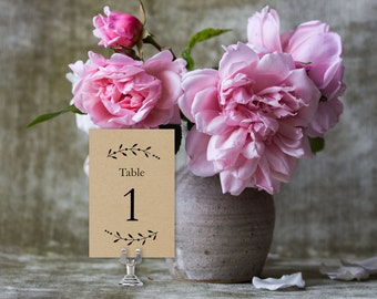 Wedding Table Numbers, Printable Table Numbers Template | Wedding Reception | Branches Kraft | No. EDN 5218