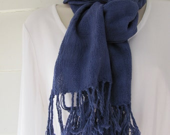 Cotton scarf with fringe, hand woven in Java, hand-dyed blue with fiber-reactive dye