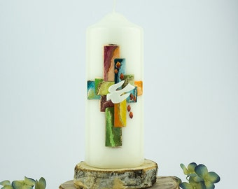 Candle firm candle, gift, confirmation, reminder of the confirmation, candle for Confirmand, colorful, modern, with name and date, E576