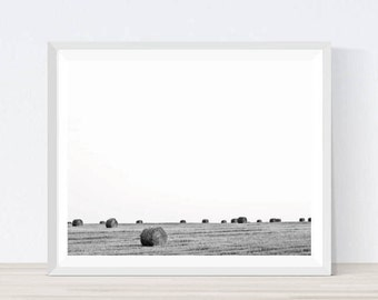 Country Landscape, Countryside Print, Countryside Landscape, Countryside Home Decor, Fields Print, Fields Photography, Hay Bales, #BW7
