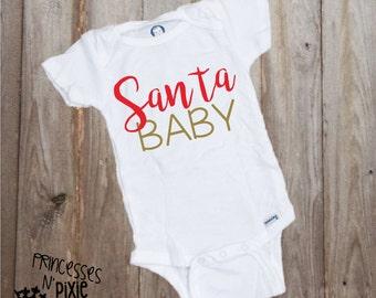 Santa Baby One Piece Body Suit - Christmas Baby - Santa
