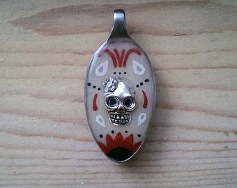 Day of the Dead Spoon Pendant - Cream/White/Black/Red