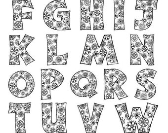 Alphabet Flowers SVG / JPEG / PNG /pdf / use with Silhouette Studio and Cricut Design Space - Commercial Use - Adult Coloring Page