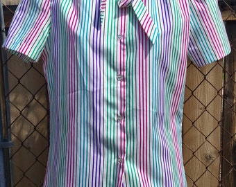 Laura Mae Vintage 1980's Short Sleeved Striped Buttoned-down Blouse