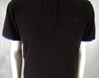 Classic 1960's style Vintage Fred Perry Polo Pique in Black with Blue Trim