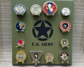 Military Challenge Coin Display Rack - Vintage Army - Wall-mounted