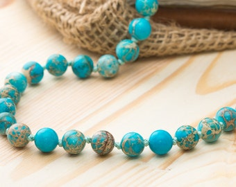 Variscite necklace turquoise necklace birthday gift ideas for her necklace blue necklace gift for girlfriend beads necklace womens jewelry