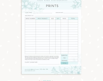 Order Form Template, Floral Photography Order Form, Photography Forms,  Purchases, Orders Template Awesome Design