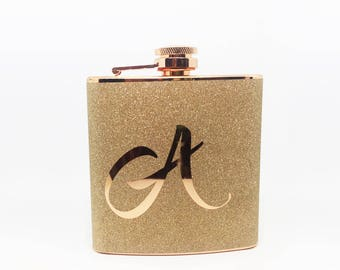 Personalized Monogrammed Glitter Copper Stainless Steel 6 oz Liquor Hip Flask- Gifts for Bridesmaids, Birthday, Wedding Favor BF-F1011