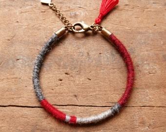 Mom Gift/ Bangle bracelet/ Friendship bracelet/ Woven bracelet/ Boho/ Gift for her/ Red Bracelet/ Tassel bracelet/ Girlfriend gift/ Red