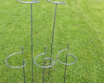 Mixed Set of 5 Handmade Wraparound Plant Supports Made from 8mm Solid Steel Bar