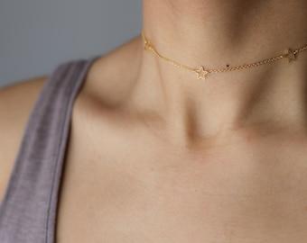 Gold Star Charm Necklace - Tiny Star Choker - Dainty Gold Choker Necklace - Layering Necklace - Everyday Jewelry - Minimalist Necklace
