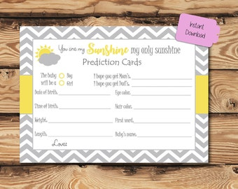 You are my Sunshine Baby Shower Prediction Cards (Digital)