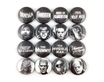 "Universal Monsters Collection - Dracula • Wolf Man • Mummy • Creature • Frankenstein • Bride of Frankenstein • AND MORE! - 1"" Button Pin Set"