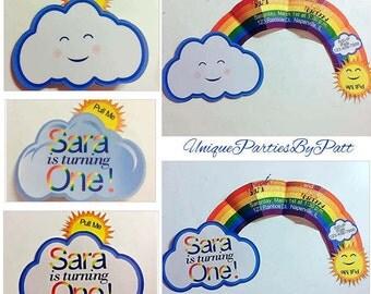 Rainbow Invitations /set of 12/ Cloud Invitation / Cloud with pull out Rainbow Invitation - set of 12 with envelopes included.