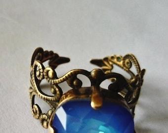 bronze Crystal filigree ring Swarovski Opal blue sky