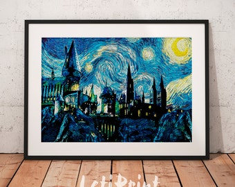 Hogwarts, Starry Night Print, Harry Potter Print, Hogwarts Castle Print, Harry Potter Art, Hogwarts Art Print, Van Gogh, Hogwarts Art, Print